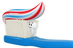 3d smiling Tooth hiding in toothbrush - isolated stock illustration