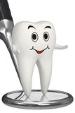 3d Smiling Tooth On Dental Mirror Isolated Icon Royalty Free Stock Images