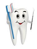 3d Smiling Tooth With Toothbrush And Carver Icon Stock Image