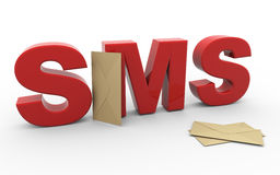 3d sms envelope. 3d render of word sms (short message service) with envelopes Royalty Free Stock Photography