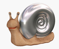 3d snail with a bowl from chromeplated metal. Smiling 3d snail with a bowl from chromeplated metal. Objects over white Stock Images