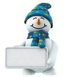 3d sneeuwman met teken Stock Foto