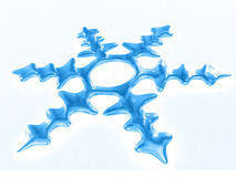 3d snowflake on a white background. 3d blue snowflake on a white background Royalty Free Stock Image