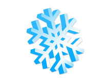 3d snowflke. Isolated 3d blue snowflake. Illustration with clipping path Stock Photo