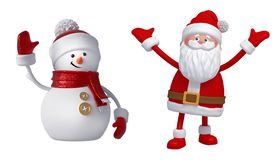 Free 3d Snowman And Santa Claus. Christmas Clip Art Set Isolated On White Background. Festive Ornaments. Cute Cartoon Characters. Stock Photo - 163885220