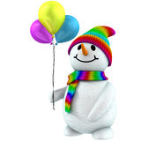 3d snowman with balloons Royalty Free Stock Photo