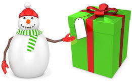 3d snowman with a big present Stock Photo