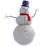 3D Snowman with blue dotted pot and red scarf. Simple illustration of a snowman. The snowman has white dotted blue pot as a hat, red scarf, black charcoal Royalty Free Stock Photography
