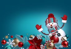 Free 3d Snowman, Christmas Ornaments, Balls, Poinsettia Flower Isolated On Blue Background. Blank Banner, Greeting Card Template, Stock Image - 164914991