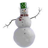 3D Snowman with green doted pot for hat, twigs for hair and purple and white striped scard red scarf Royalty Free Stock Photos