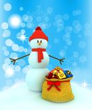 3d snowman over color background Royalty Free Stock Image