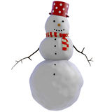 3D Snowman with red dotted pot and red and white striped scarf Royalty Free Stock Image