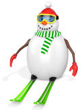 3d snowman with skis Royalty Free Stock Images