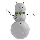 3D Snowman With Carrots As Horns (or Ears) And Green And White Striped Scarf Stock Photography