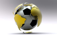 3d soccer ball. 3d golden soccer ball with extruded continents Stock Images