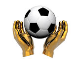 3d Soccer ball in hands Royalty Free Stock Photo