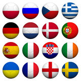 3D  Soccer balls with flag pattern. 3D Rendering Soccer balls with flag pattern, European Soccer Championship Group A to D Royalty Free Stock Photo