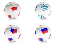3d soccer balls with flags isolated white Royalty Free Stock Images
