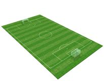 3d soccer field. Isolated on white background -3d rendering Stock Images