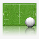 3D soccer football. With reflect on white background Royalty Free Stock Photo