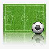 3D soccer football. With reflect on white background Royalty Free Stock Image