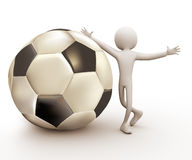 3d Soccer Player. 3d man soccer player with large ball Royalty Free Stock Photography