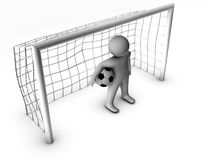 3d soccer player with gate Royalty Free Stock Photos