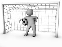 3d soccer player with gate Stock Image