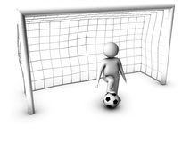 3d soccer player with gate Stock Photo