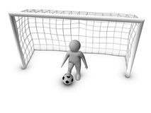 3d soccer player with gate Royalty Free Stock Photo