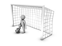 3d soccer player with gate Stock Photos