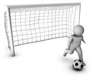 3d soccer player with gate Royalty Free Stock Image