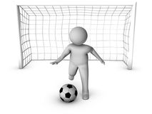 3d soccer player with gate Royalty Free Stock Photography
