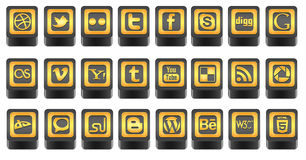 3D Social media icons. 24 unique social icons for use on blogs,websites and applications Stock Images