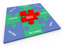 3d social media solved puzzle Stock Photography