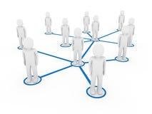 3d sociale blauw van het mensennetwerk Stock Afbeeldingen