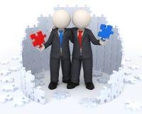 3d socios comerciales - soluciones del rompecabezas Imagen de archivo
