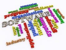 3d software wordcloud. 3d render of software wordcloud Stock Photo