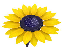 3d solar cell sunflower. On a white background Royalty Free Stock Image
