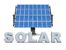3D solar cells 01. 3D solar cells with silver letters on white background vector illustration