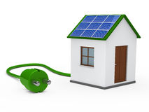3d solar house with plug Royalty Free Stock Image