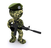 3d soldier textured with camouflage Royalty Free Stock Photo