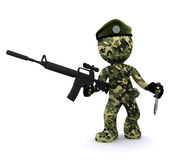 3d soldier textured with camouflage Stock Images