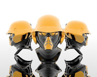 3d soldiers in a gas mask Stock Photos