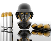 3d soldiers in a gas mask with bullets. 3d soldiers in a gas mask with silver bullets Royalty Free Stock Images