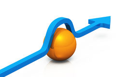 3D - solution blue orange 02. Blue 3D arrow with orange ball stock illustration