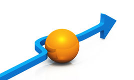3D - solution blue orange 03. Blue 3D arrow with orange ball stock illustration