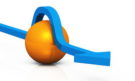 3D - solution blue orange 04. Blue 3D arrow with orange ball stock illustration