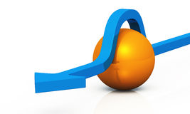 3D - solution blue orange 11. Blue 3D arrow with orange ball stock illustration