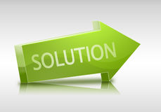 3D solution text in arrow and relfection Royalty Free Stock Photo